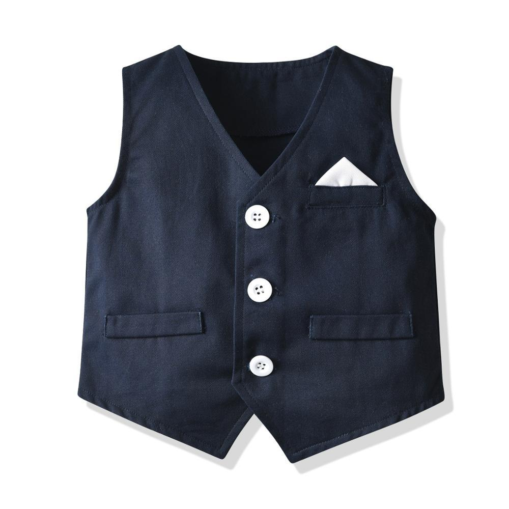 2021 Childrens Suits Baby Suit 3Pcs/Set Kids Baby Boys Business Suit Solid Shirt+Vast+Pants Set For Boys For Formal Party 1-6 Ag