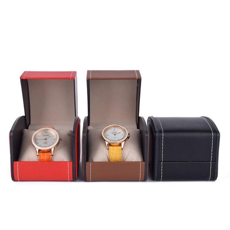 Caixas de relógio de moda Durável PU couro relógios de couro pulseira pulseira jóias caixa com travesseiro