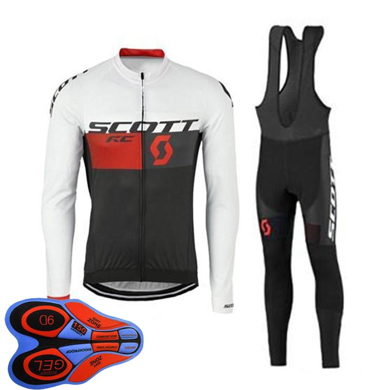 봄 / 오토 룸 스콧 팀 망 사이클링 저지 세트 긴 소매 셔츠 턱받이 바지 정장 MTB 자전거 복장 경주 자전거 유니폼 야외 스포츠 착용 Ropa Ciclismo S21042031