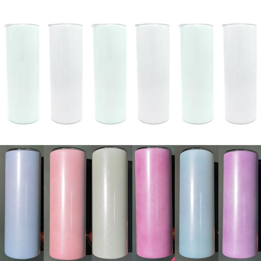 Colore UV Modifica skinny Tumbler 20oz Sublimazione Abbatti dritti Acciaio inossidabile Tazze isolate sottovuoto con coperchio e cannucce di plastica ZZA3334