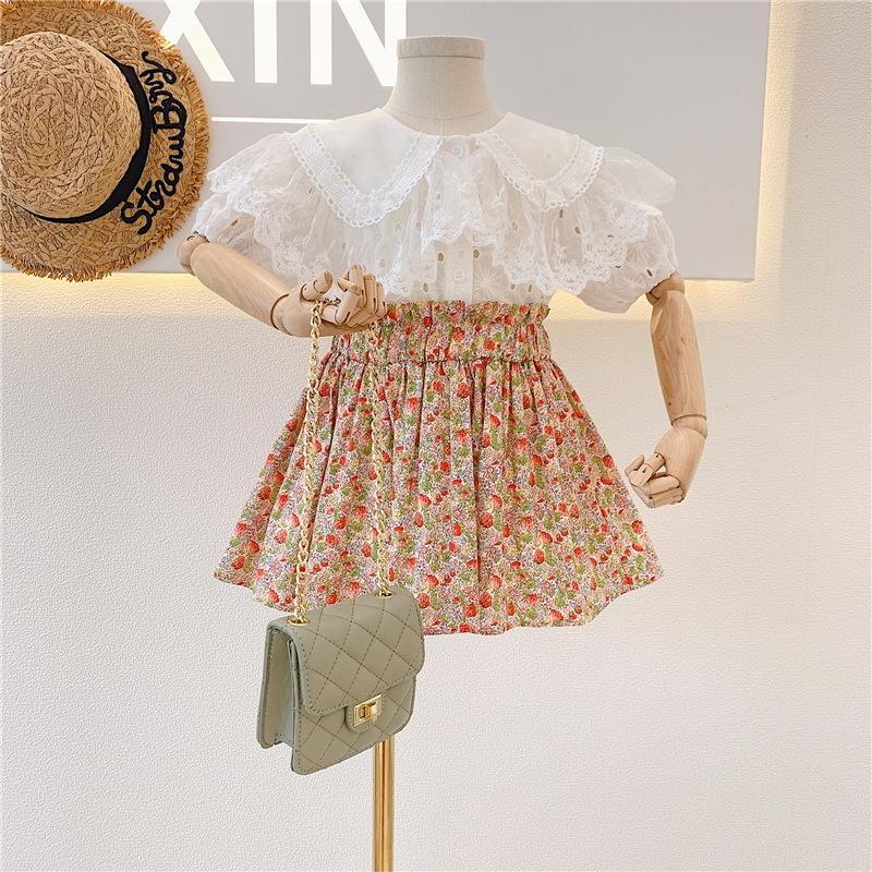 의류 세트 여름 소녀 의상 레이스 칼라 흰 셔츠 + 꽃 치마 2 피스 아이 옷 여자 e120 cy5p