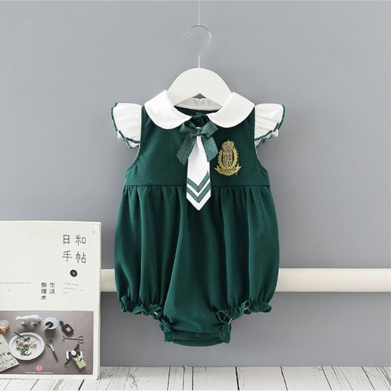 Rompers 도매 봄 아기 민소매 Romper 녹색 학생 스타일 넥타이 Bodysuits 정장 소년 소녀 옷 E9202 4YZ2
