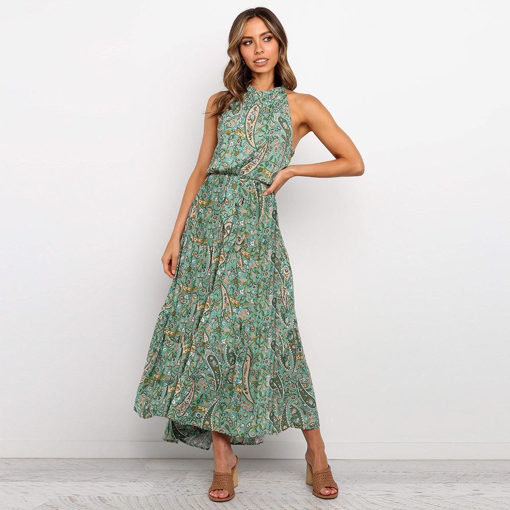 Mujer floral estampado playa boho vestido vestido de noche vestido de noche vestido largo maxi vestido verano vestido de verano vestido midi vestidos para mujer desgaste casual v cuello cultivo top hiffon