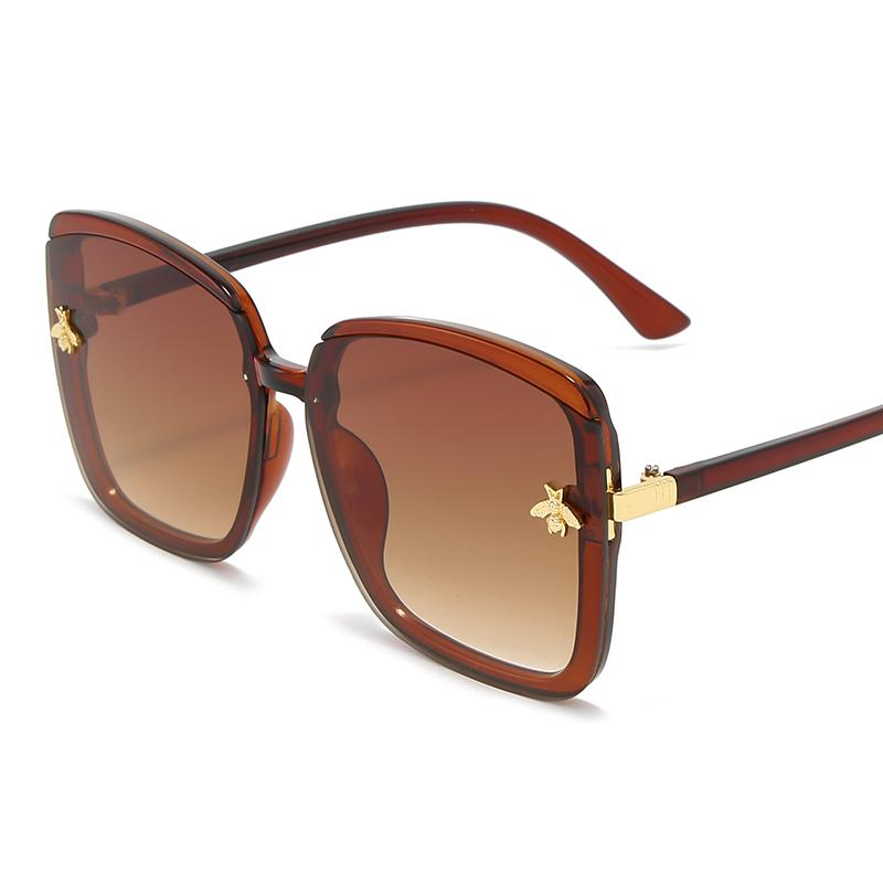 Honigbiene Sonnenbrille Frau Vintage Retro Flache Top Dünne Schatten Sonnenbrille Square Pilot Luxus Designer Große Schwarz Shades7wux