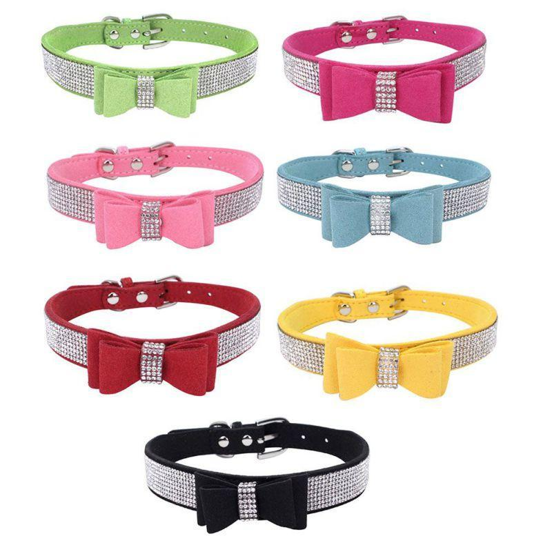 Dog Collars & Leashes Full Rhinestone Soft Seude Leather Collar Bling Padded Bow Knot Puppy Cat Pet For Small Medium Breeds Suppliers