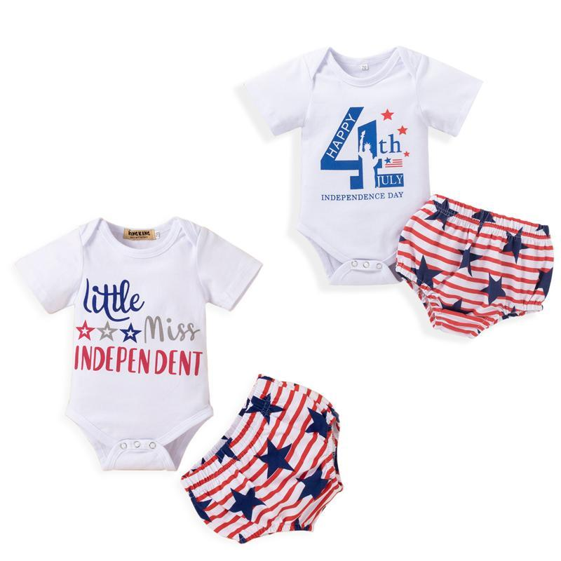 2pcs Baby Boy Boys Girls Independence Day Outfit Letters Imprimir Mangas cortas Romper + Star Stripes Shorts 0-18m Conjuntos de ropa