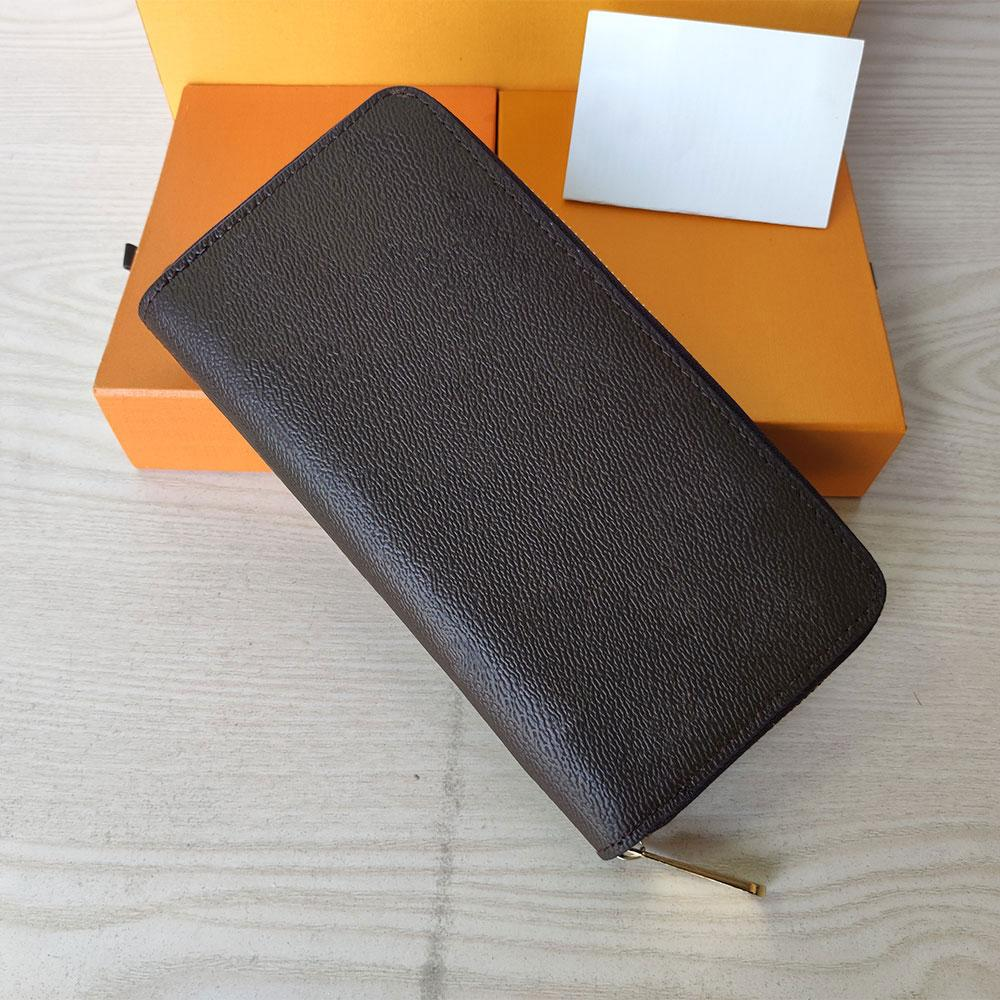 Top Quality Holders Letter design Fashion women clutch wallet pu leather single zipper mens wallets lady ladies long classical purse with orange box card 60017