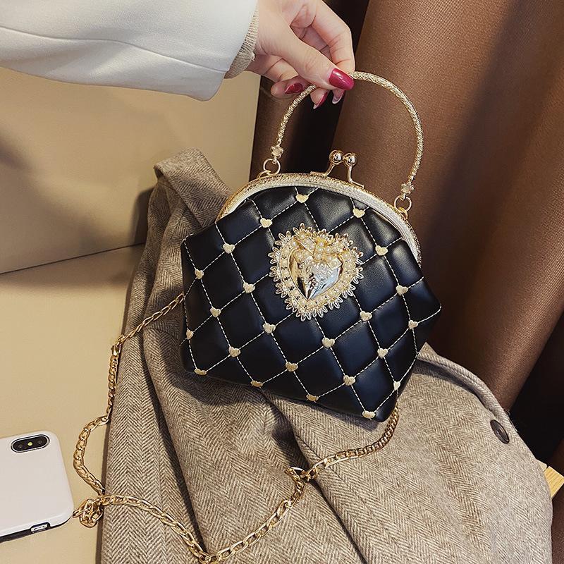 نسخة مطورة التطريز النساء حقيبة يد جلدية خمر تصميم القلب مساء حقيبة حفل زفاف العروس مخلب الكتف حقيبة محفظة