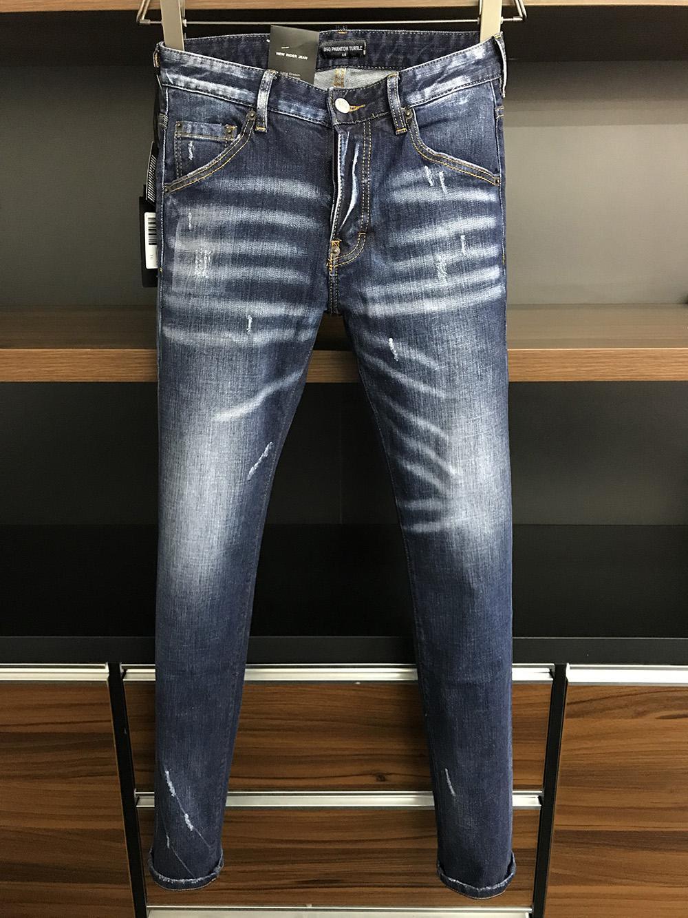 DSQ Phantom Tortue Classic Fashion Homme Jeans Hip Hop Rock Moto Mens Hommes Casual Design Décontracté Jeans Détoné Skinny Denim Biker DSQ Jeans 6966