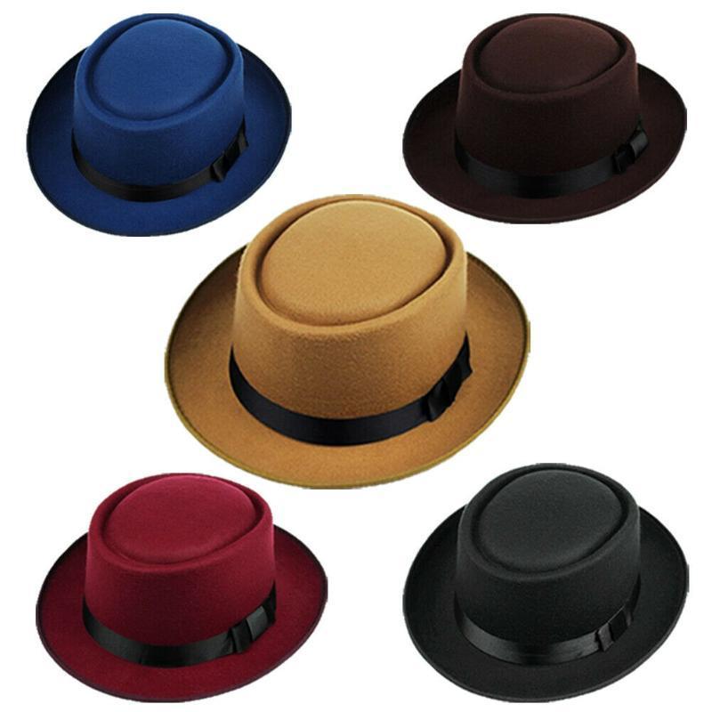 유니섹스 클래식 페도라 돼지 고기 파이 모자 Trilby Jazz Cap 신사 단단한 넓은 모자