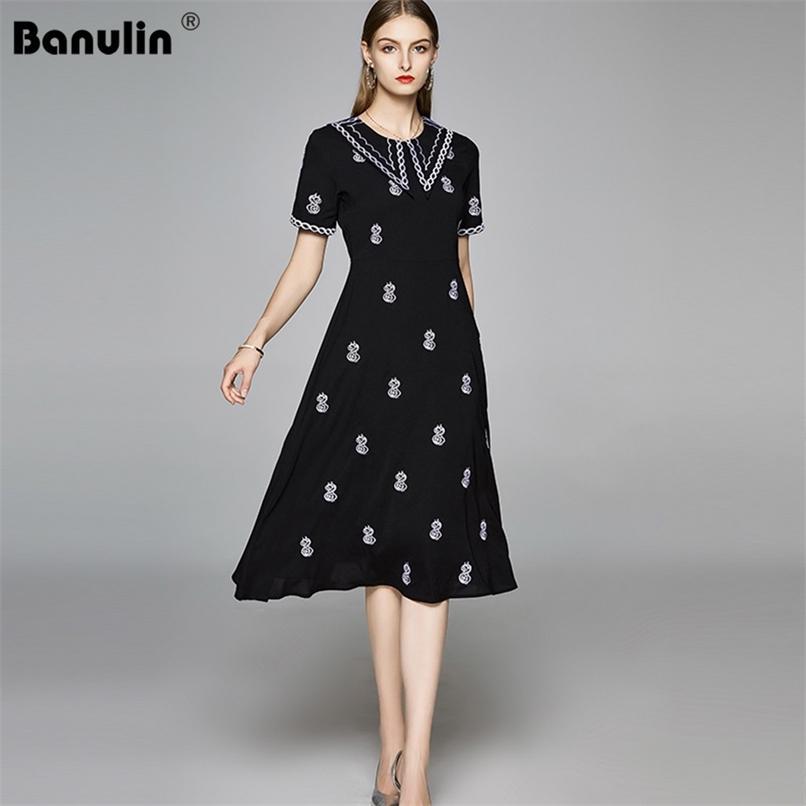 Verão moda bordado vestido de pista feminino peter pan colar de manga curta escritório senhoras trabalho preto midi 210521