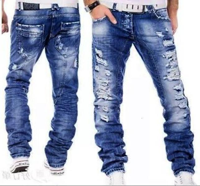 Jeans hommes masculin jean Homme hommes masculins classiques classiques massifs pantalons denim motard pantalon slim ajusteur baggy pantalon de pantalon rippateur1