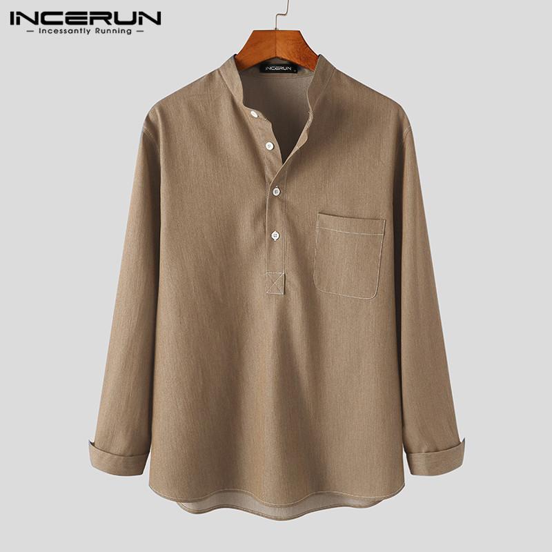 남자 한국어 스타일 포켓 느슨한 Camisa Masculina Manums 솔리드 컬러 긴 소매 셔츠 빈티지 스탠드 칼라 버튼 블라우스 5XL 남자의 casua