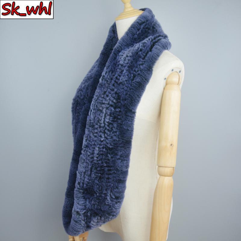 겨울 여성 긴 스타일 정품 모피 스카프 100 % 천연 진짜 렉스 스카프 니트 반지 스카프