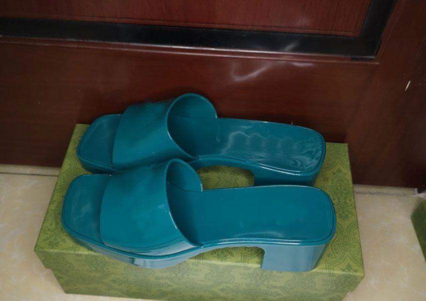 Zapatos de diseño de alta calidad! 2021 Summer Fashion Jelly Slyl Tline Print Slippers Luxury Baño de la playa Zapatos de playa Sandalias de mujer Guía Caja de regalo 35-41