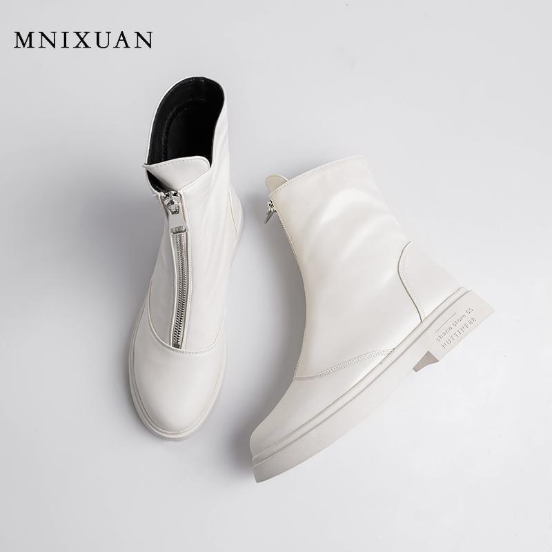 Mnixuan handmade 2020 осень зима новых круглых носок женская обувь западная лодыжка сапоги черные пинетки блокируют каблуки короткие ботинки большой размер12