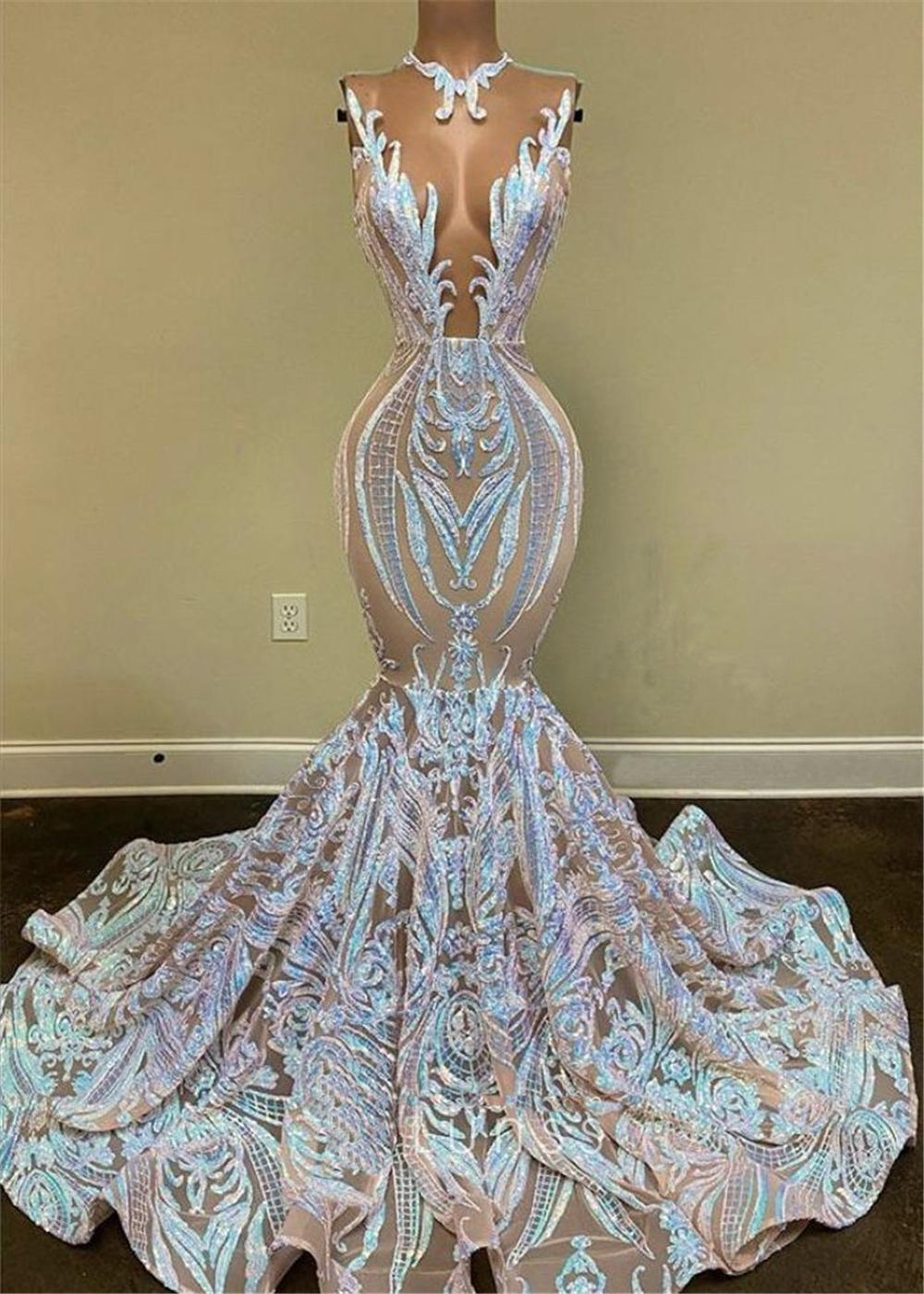 Black Girls Sparkly Sequin Long Prom Dresses 2021 real image Sexy V Neck Mermaid African Women Gala Evening Party Gowns