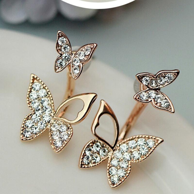 Produttori che vendono orecchini a forma di farfalla Due usura Temperamento di moda Gioielli coreani Belle gioielli per le donne Stud