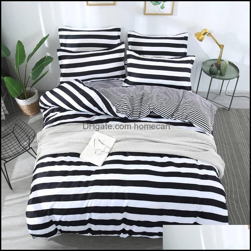 Bedding Supplies Textiles Home & Gardenbedding Sets J Stripe 4Pcs Girl Boy Kid Bed Er Set Duvet Adt Child Sheets And Pillowcases Comforter 2
