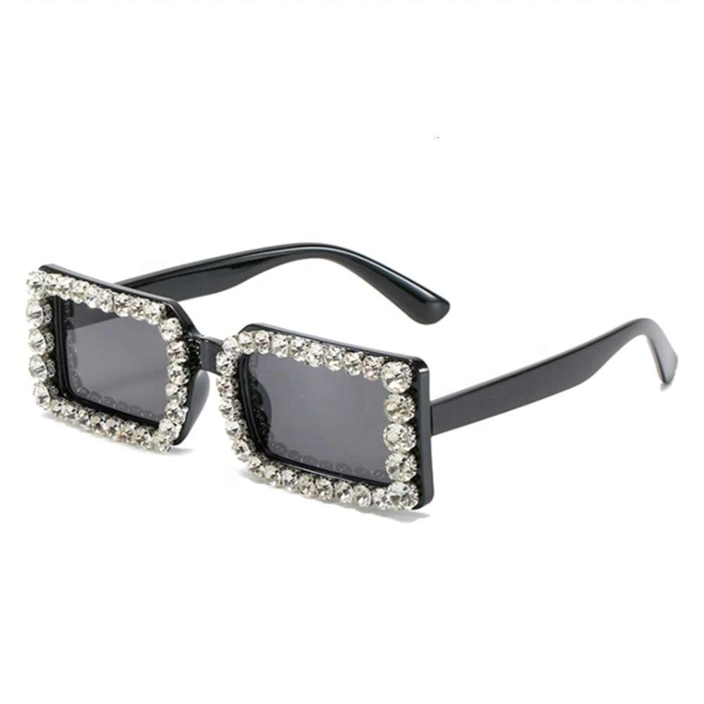 2021 европейские и американские модные квадратные солнцезащитные очки персонализированные алмазные встроенные солнцезащитные очки для женщин девушки Ladi