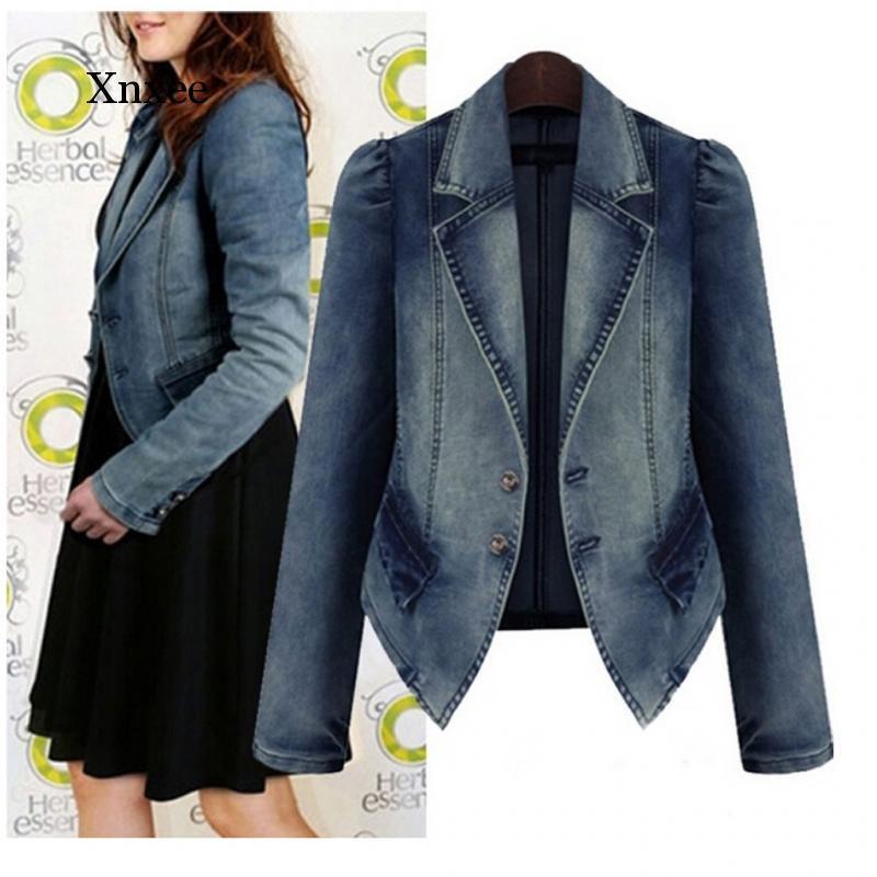 Kadın Cep Düğmesi Denim Ceket Patchwork Uzun kollu Yaka Bel Onurlu Mizaç Sonbahar ve Kışlık Ceket Fas Ceketler