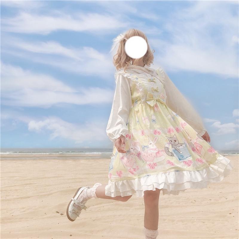 Women Lolita Dress Girl Kawaii Sweet Retro Style Puff Long Sleeve Midi Japanese Casual Dresses