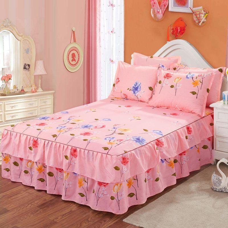 Modèle de fleurs romantique Polyester Lits de lit à volants de lit Jupe de lit Jupe de lit Queen-lit couvre-lit Tape Décor Chambre Colchas (Pas de taie d'oreiller) F0386 210420