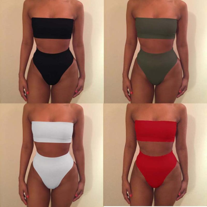 Swimwear Mulheres Bandeau Swimsuit Sexy Bikini Micro 2 Peça Set Mulheres Pura Cor Tube-Top Split Dois Pedaço