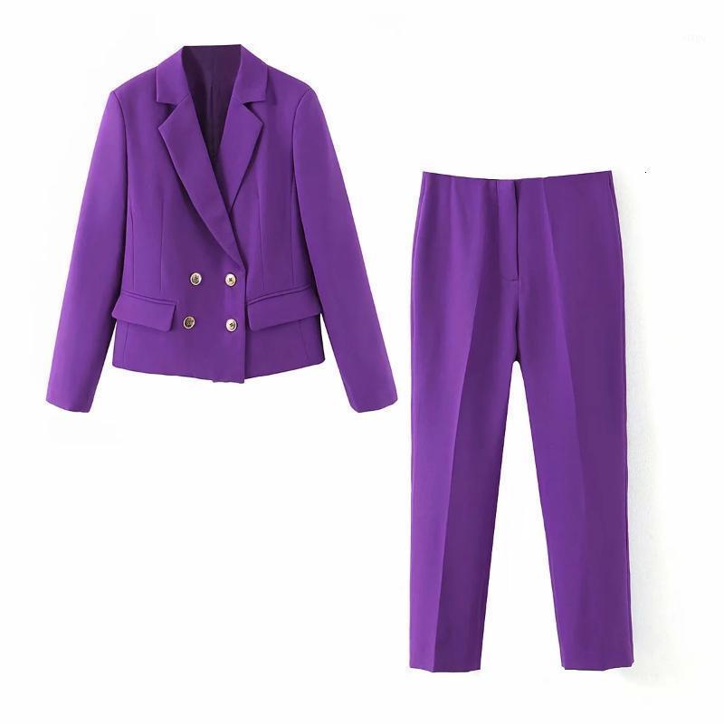 2020 봄과 가을 새로운 캐주얼 여성 정장 바지 2 조각 패션 보라색 짧은 숙녀 블레이저 우아한 바지 1