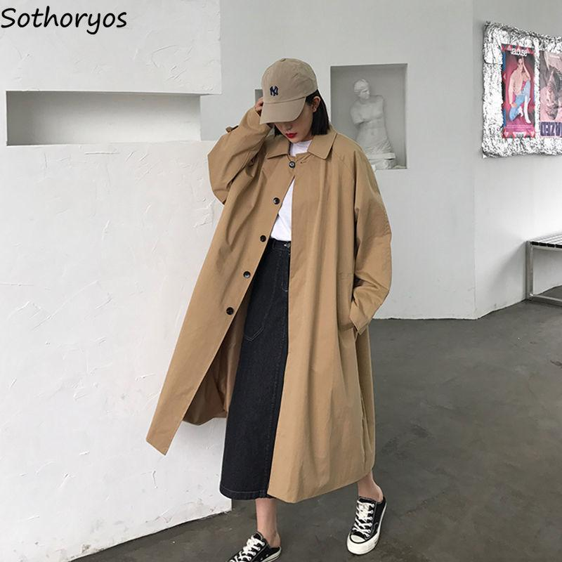 Women Trench Solid Coat Autumn Student Single Breasted Fashion Korean Style Oversized Silm All-match Streetwear Female Temperament Women's Coats