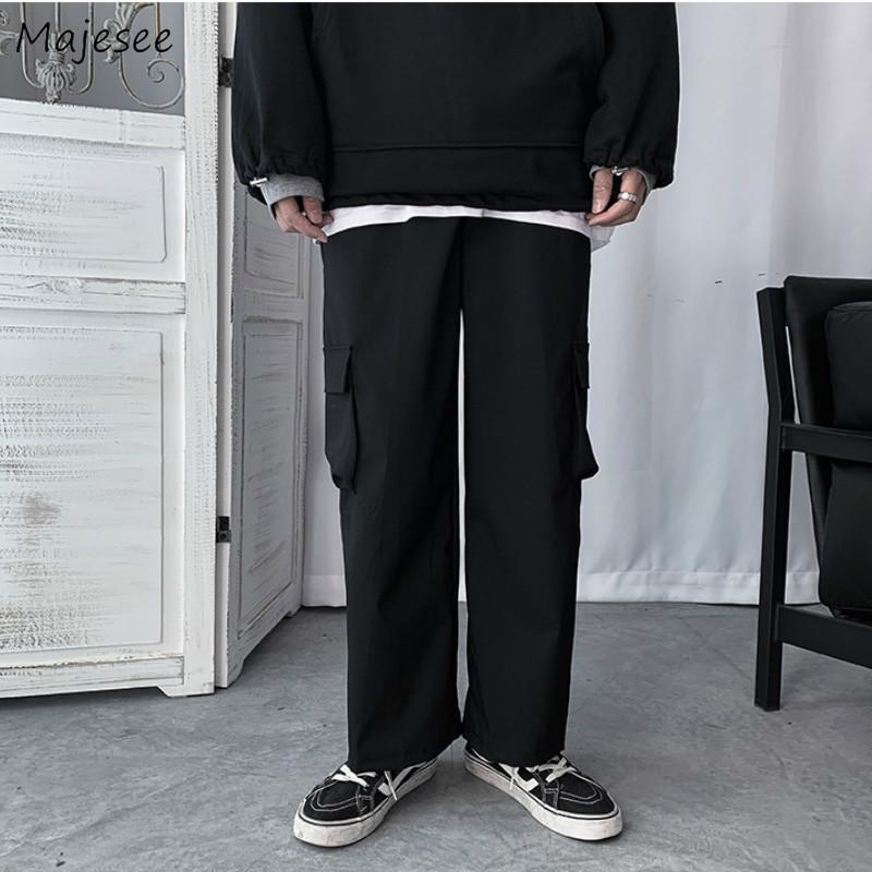 남성 캐주얼 바지화물 바지 하라주쿠 스트레이트 느슨한 플러스 플러스 크기 3XL 높은 탄성 허리 솔리드 간단한 스트리트웨어 데일리 학생 남자