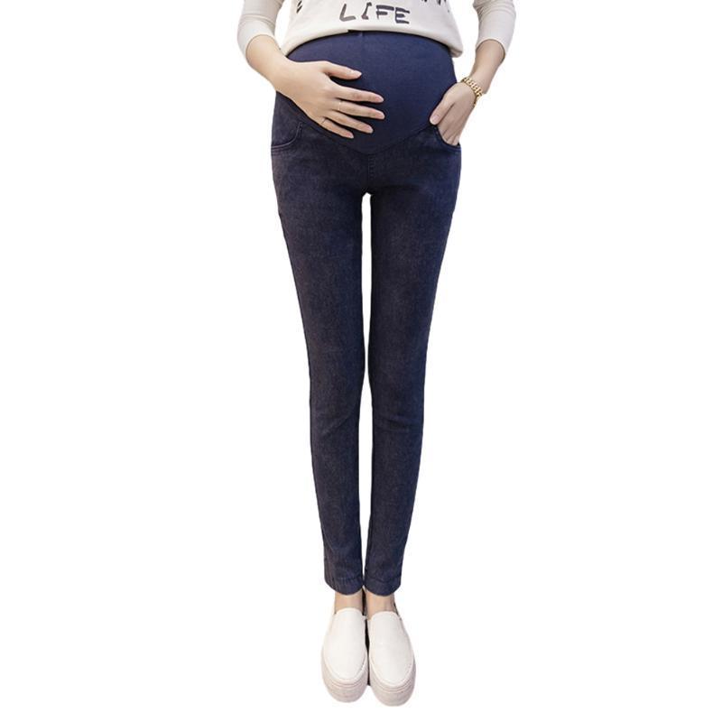 출산 스타킹 배꼽 디자인 청바지 바지 탄성 부드러운 부드러운 여성 피트 바지 조류 어머니 바닥