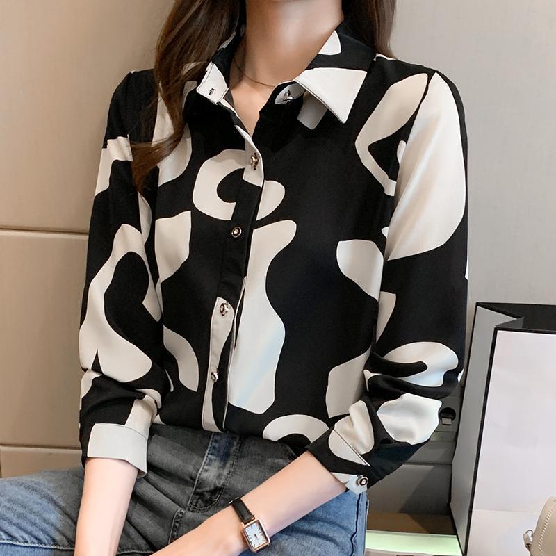 Lucyever plus größe 2xl office dame mix color shirt womens 2021 frühling schwarz weiß chiffon bluse frauen slim fit bottoming tops frauen blusen