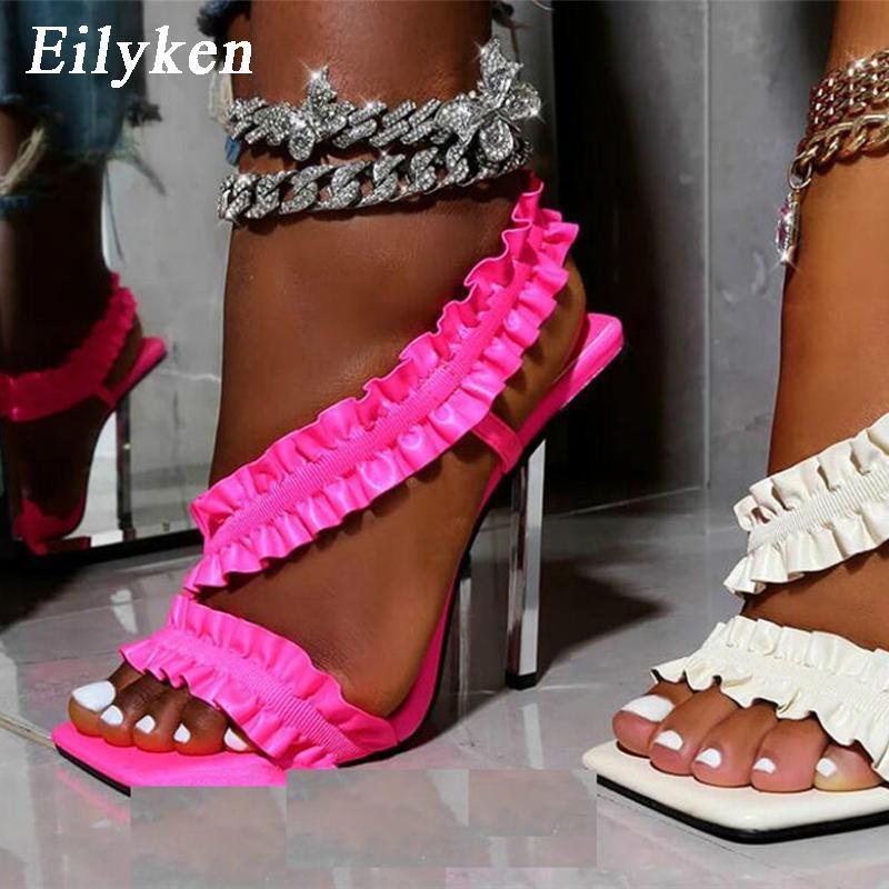 أحمر الكشكشة النساء المصارع الصنادل الأحذية مثير عالية الكعب الصنادل الصيف مضخات الانزلاق على حزب اللباس أحذية
