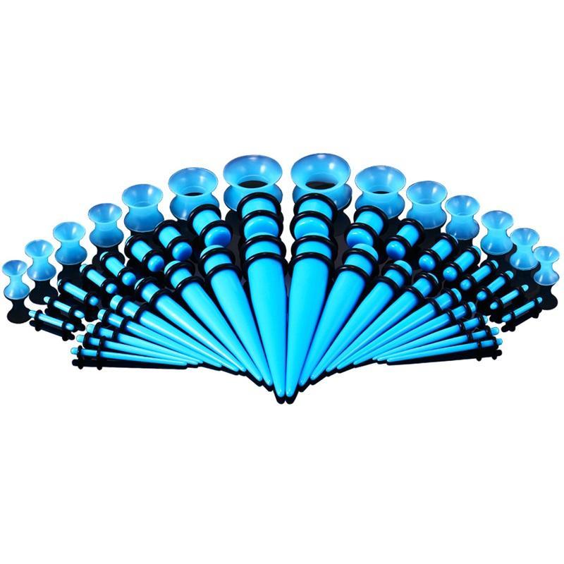 50pcs / lot acrilico calibro orecchio cono e tappo di stretching kit misti color orecchino a forma di tunnel tunnel di espansione corpo piercing gioielli 14G-00g 963 Q2