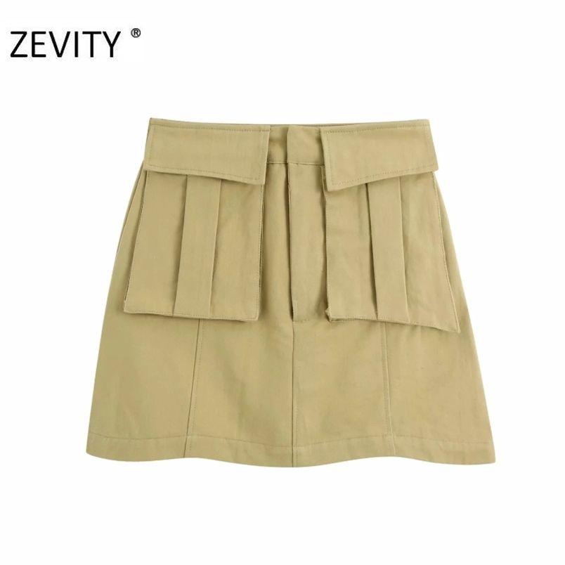 Femmes Mode Pockets Patch Solid Casual A Line Jupe Line Faldas Mujer Dames Lampe Zipper Fly Slim Vestidos chics Jupes chics Qun691 210420