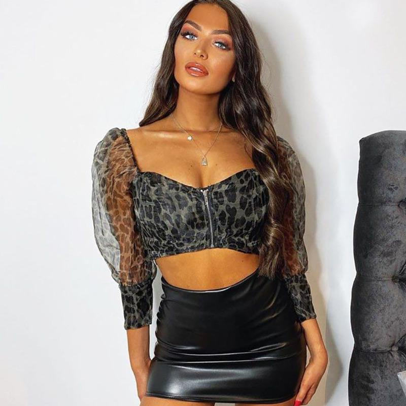 Spring Fashion Streetwear Tee Shirt Women Strapless Long Sleeve Leopard Print Short T Sexy Ladies Crop Tops 2021 Women's T-Shirt