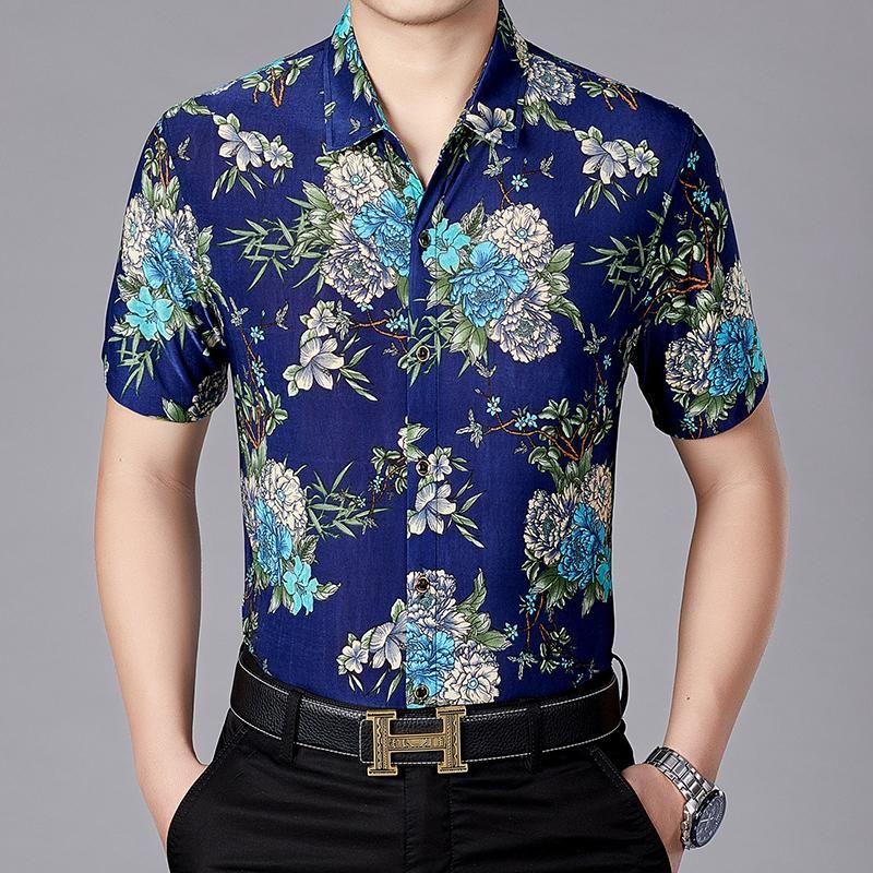 Summer Mens Fashion Floral Stampato Camicia Casual Maschile Manica Corta Abito hawaiano Camicie da uomo