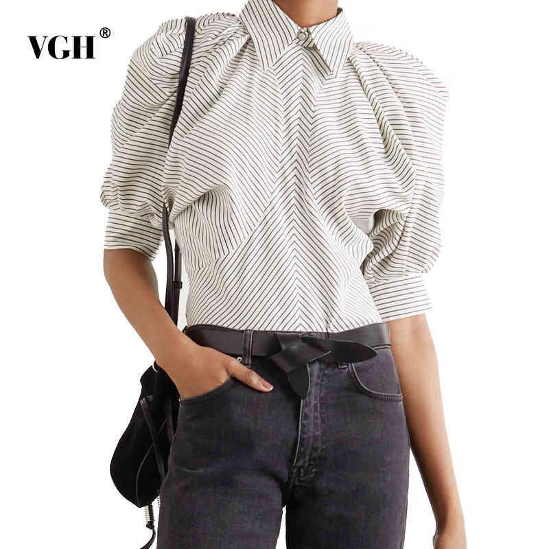 Allentato Color Colore Blusa Femmina Soffia con soffio a soffietto a soffietto Shirt Pad Shirt Abbigliamento Modo Abbigliamento Molla Tide 210507