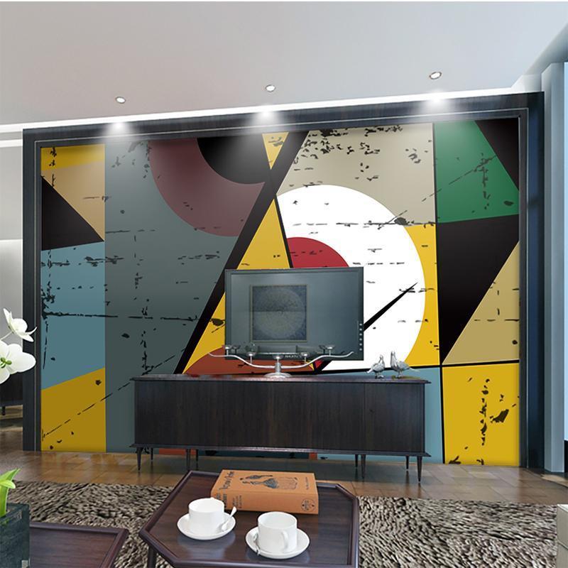 Wallpapers Personalizado Qualquer tamanho Geométrico Figura Abstrato Pintura Arte Papel De Papel Quarto Pano De Pano Mobiliário Decorativo Decorativo