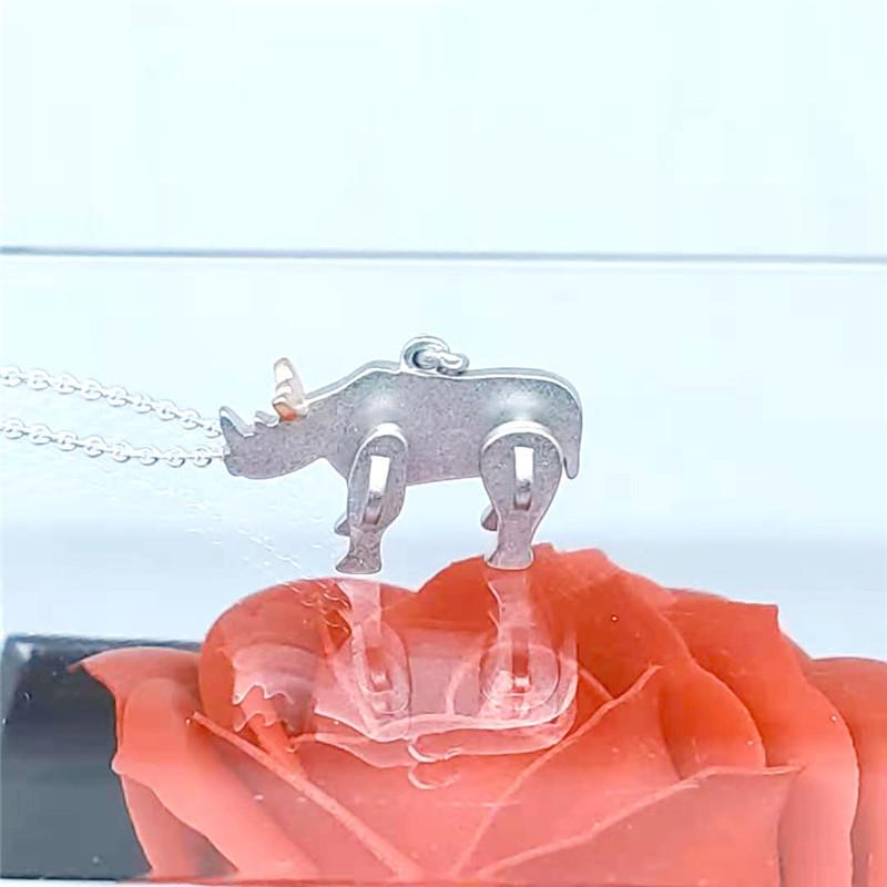 Three-dimensional Matte surface Playful little rhino pendant S925 Sterling Silver Necklace Original Luxury brand jewelry