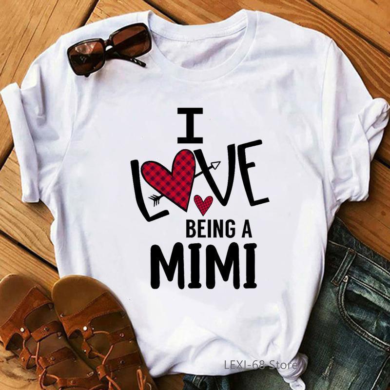 Bir Mimi Mektup Baskı Olmak Aşk Tişörtleri Kadınlar Hediye Anneler Günü için T Gömlek Femme Yaz Moda Kadın T-Shirt Streetwear Kadınlar