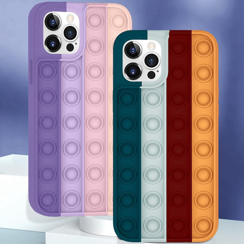 Pop Fidget Push Bubble Toy Phone Shell Shell Applica per iPhone Apple Stress Reliever Sensory Sensory Telefono per telefono Silicone LLA620