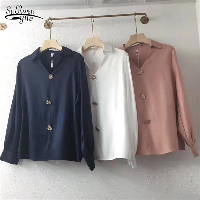 Blusas Mujer Long-Sleeve Women Tops Loose Chiffon Blouse Woman Print Slim Shirts Solid Clothing with Buttons 8913 210415