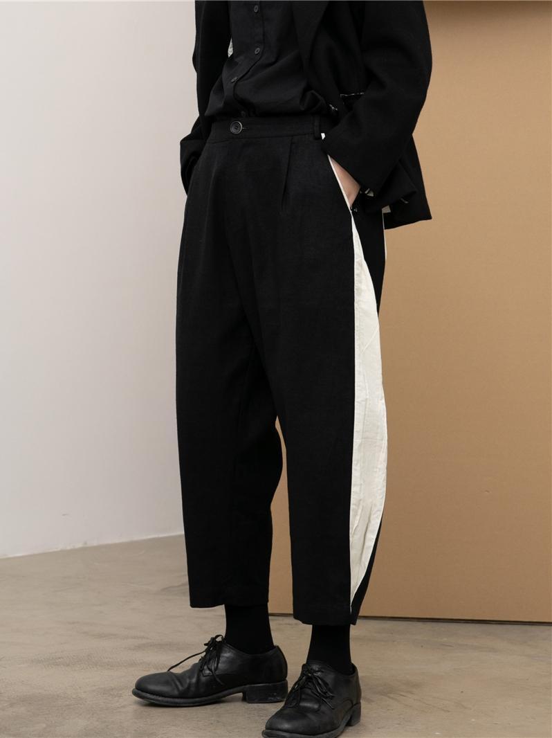 27-44 2021 남성 여성 의류 GD 헤어 스타일리스트 패션 거리 색상 대조 하렘 바지 무단 바지 플러스 사이즈 의상 남성