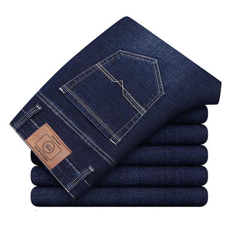 Four Seasons Homme haut de gamme Jeans Entreprise d'âge moyen - Pantalon décontracté Désacturio Désactivé Stretch Stretch Pantalon 210531