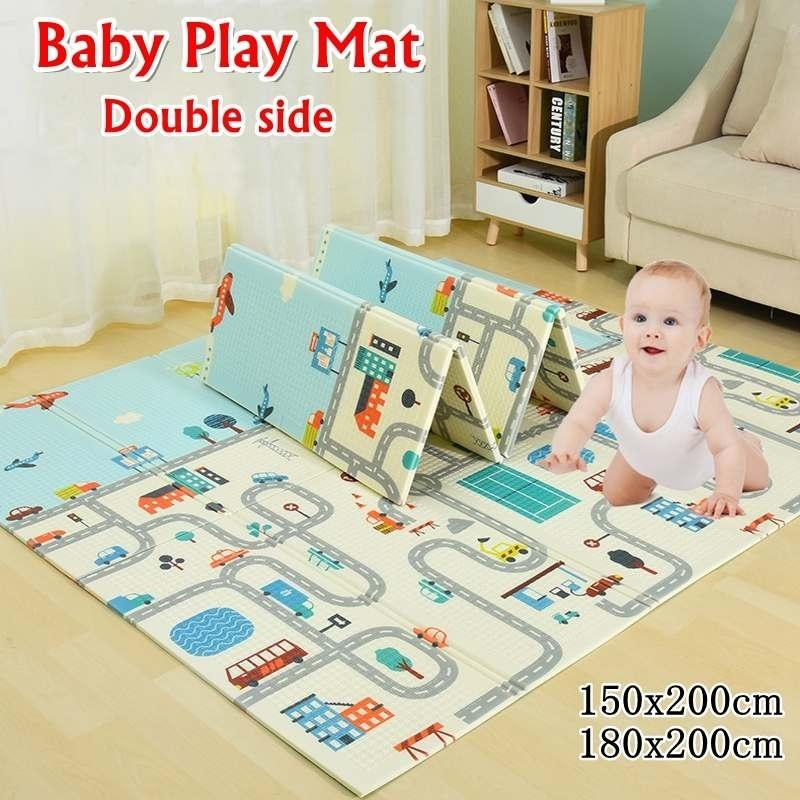 200*180*1cm 200*150*1cm Baby Play Mat Folding XPE Crawling Pad Home Outdoor Folding Waterproof Non-slip Puzzle Game Playmat 210401