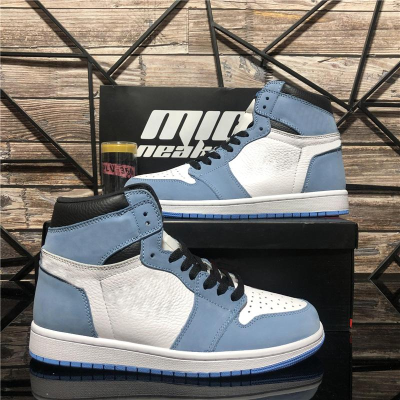 Top Quality Hommes Femmes Youths Boy Jumpman 1 Chaussures de basketball Fumée Grey Dark Moka University Blue Indicien sans peur Unc Chicago Noir Black Tee Mens Sport Entraîneur
