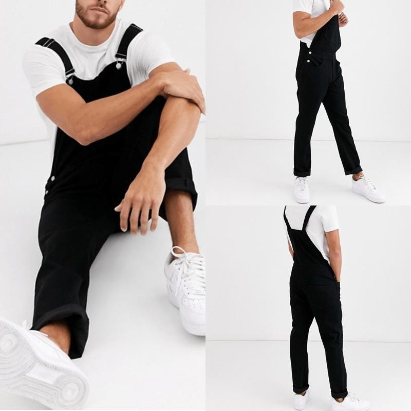 Pagliaccetti in denim nera per uomini di moda Grande taglia S-3XL strappato da Jean Pantaloni lunghi Fashions Arresse Jeans Color Men's