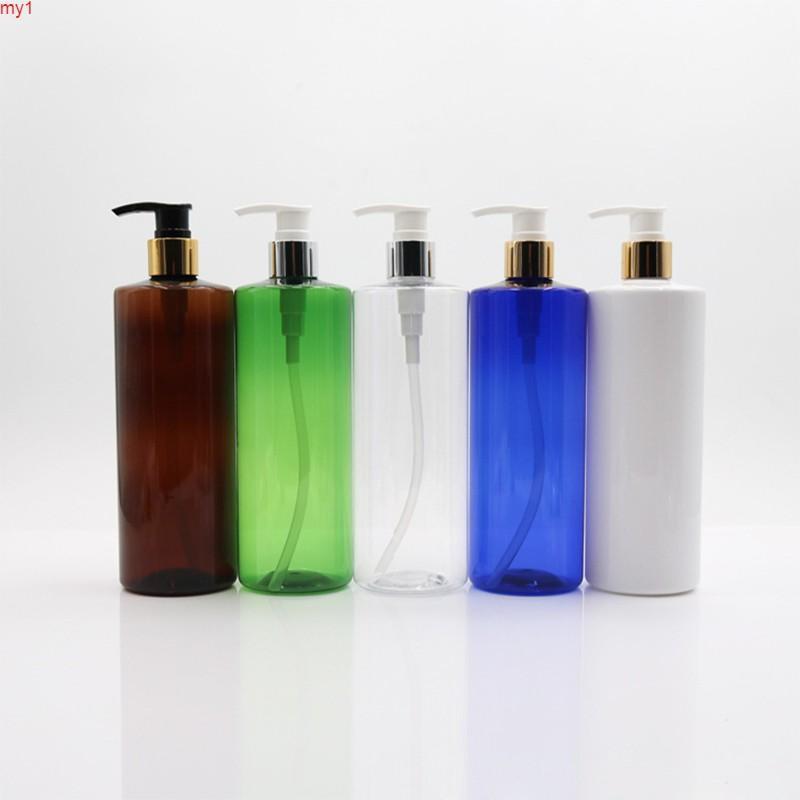 500 ml x 20 loción para mascotas Plata / botella de bomba de oro, contenedor de plástico cosmético, champú vacío Sub-embotellado de gel, botellas de aceite esencialBotelas